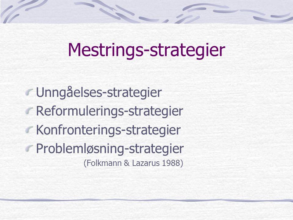 Mestrings-strategier Unngåelses-strategier Reformulerings-strategier Konfronterings-strategier Problemløsning-strategier (Folkmann & Lazarus 1988)