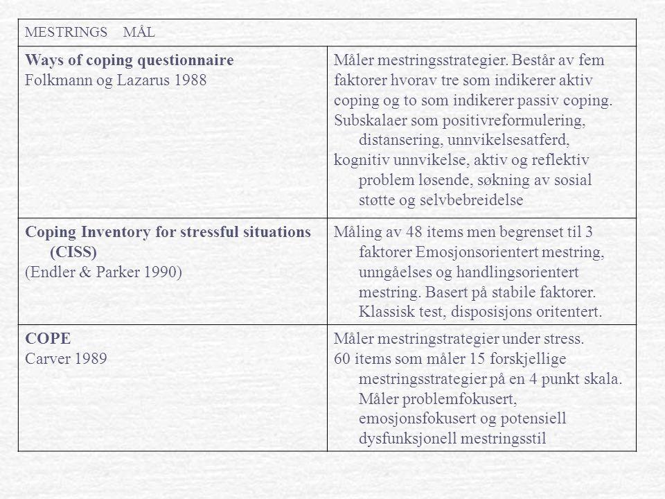 MESTRINGS MÅL Ways of coping questionnaire Folkmann og Lazarus 1988 Måler mestringsstrategier. Består av fem faktorer hvorav tre som indikerer aktiv c