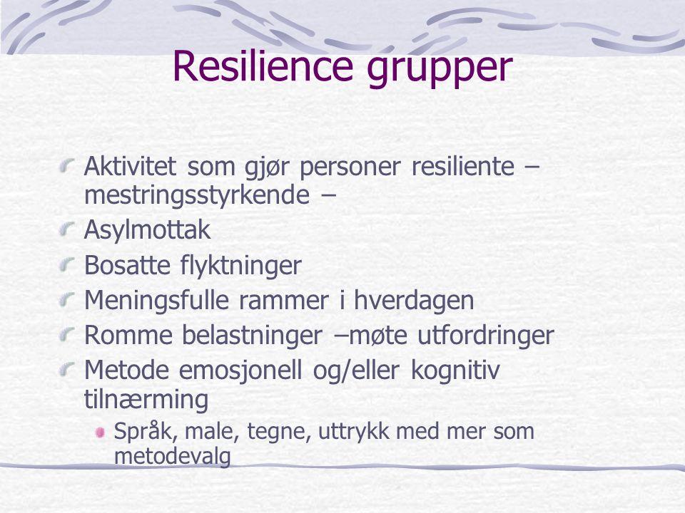 Resilience grupper Aktivitet som gjør personer resiliente – mestringsstyrkende – Asylmottak Bosatte flyktninger Meningsfulle rammer i hverdagen Romme