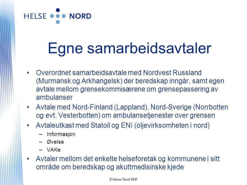 Egne samarbeidsavtaler •Overordnet samarbeidsavtale med Nordvest Russland (Murmansk og Arkhangelsk) der beredskap inngår, samt egen avtale mellom gren