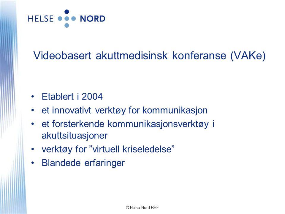 Videobasert akuttmedisinsk konferanse (VAKe) •Etablert i 2004 •et innovativt verktøy for kommunikasjon •et forsterkende kommunikasjonsverktøy i akutts
