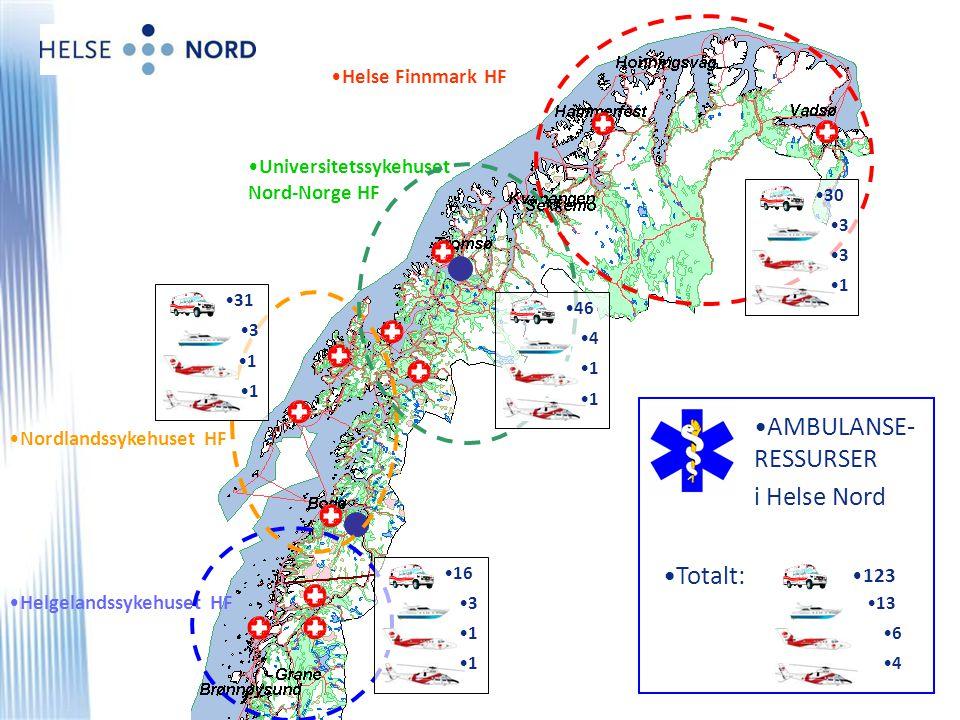 •Universitetssykehuset Nord-Norge HF •Nordlandssykehuset HF •Helgelandssykehuset HF •Helse Finnmark HF •30 •3•3 •3•3 •1•1 •46 •4•4 •1•1 •1•1 •31 •3•3