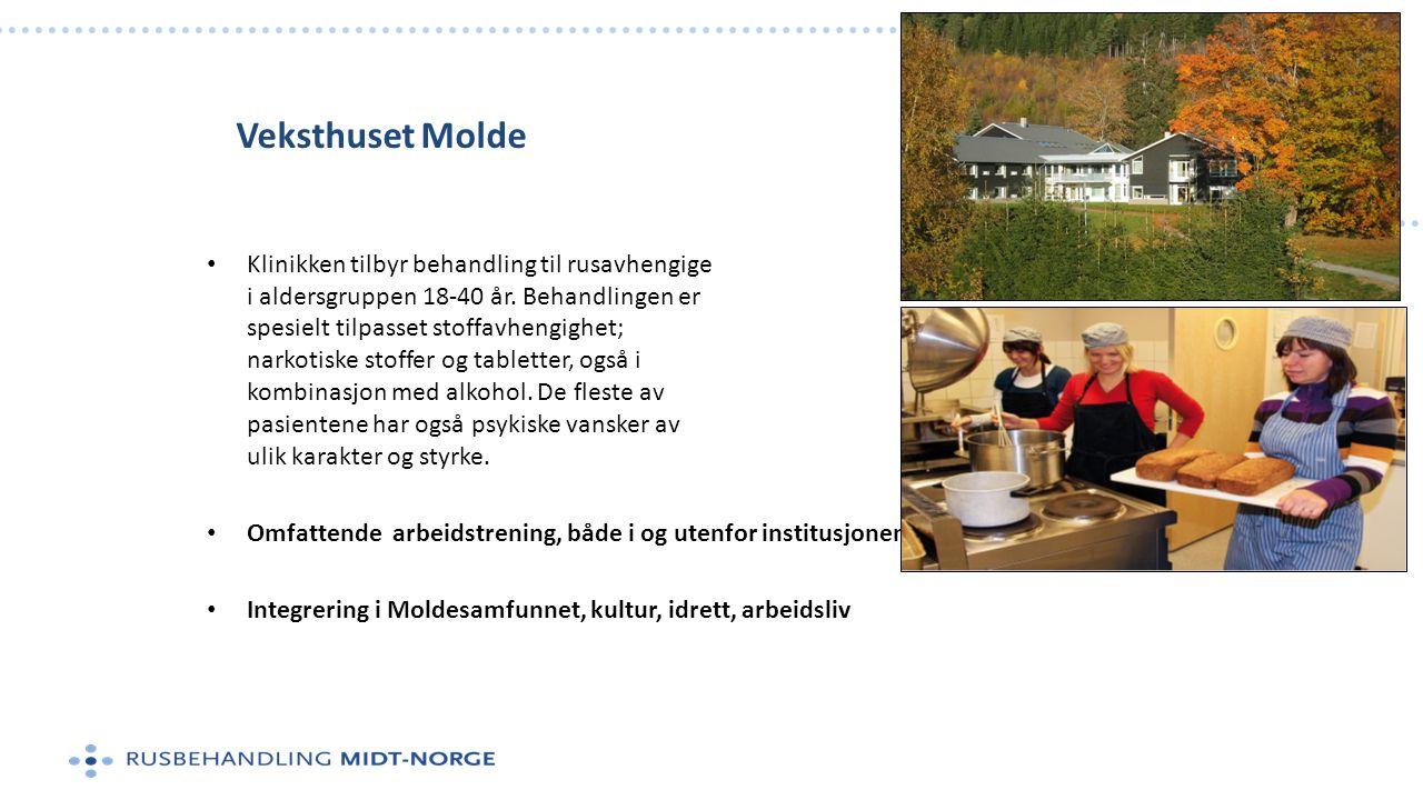 Veksthuset Molde • Klinikken tilbyr behandling til rusavhengige i aldersgruppen 18-40 år. Behandlingen er spesielt tilpasset stoffavhengighet; narkoti