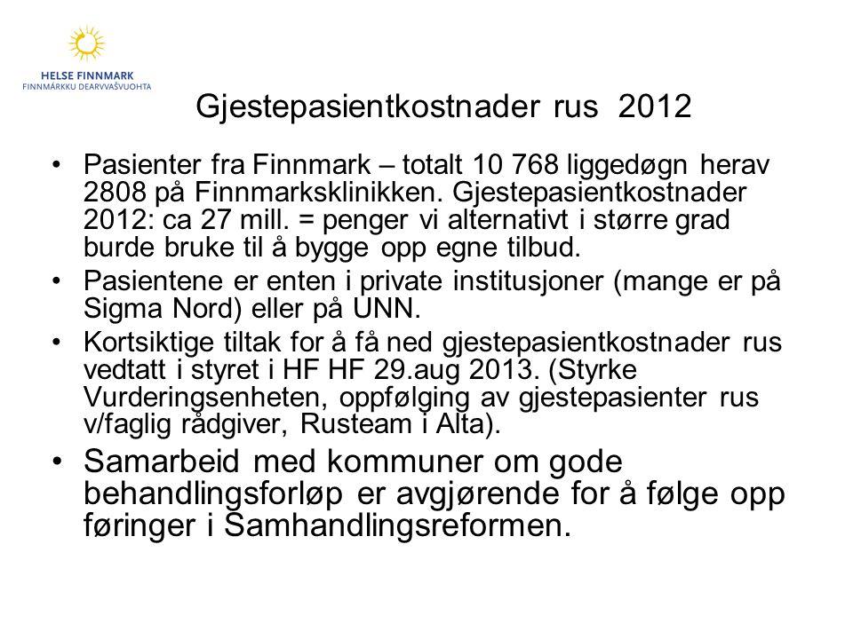 Gjestepasientkostnader rus 2012 •Pasienter fra Finnmark – totalt 10 768 liggedøgn herav 2808 på Finnmarksklinikken.