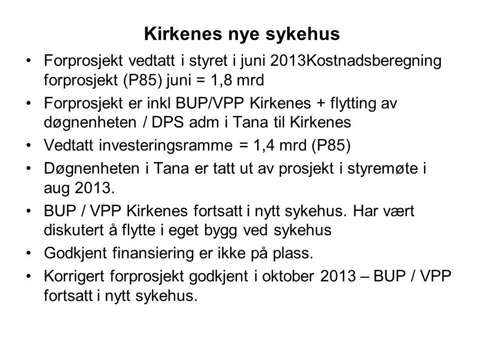 Kirkenes nye sykehus •Forprosjekt vedtatt i styret i juni 2013Kostnadsberegning forprosjekt (P85) juni = 1,8 mrd •Forprosjekt er inkl BUP/VPP Kirkenes + flytting av døgnenheten / DPS adm i Tana til Kirkenes •Vedtatt investeringsramme = 1,4 mrd (P85) •Døgnenheten i Tana er tatt ut av prosjekt i styremøte i aug 2013.