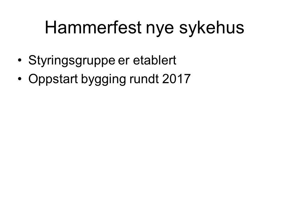 Hammerfest nye sykehus •Styringsgruppe er etablert •Oppstart bygging rundt 2017