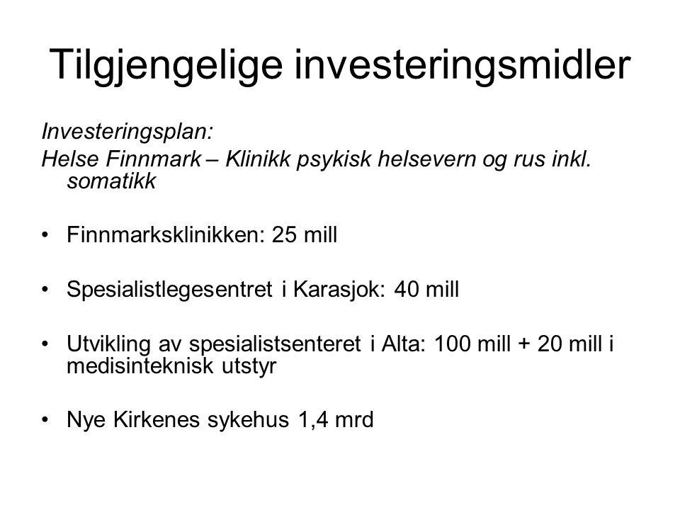 Tilgjengelige investeringsmidler Investeringsplan: Helse Finnmark – Klinikk psykisk helsevern og rus inkl.