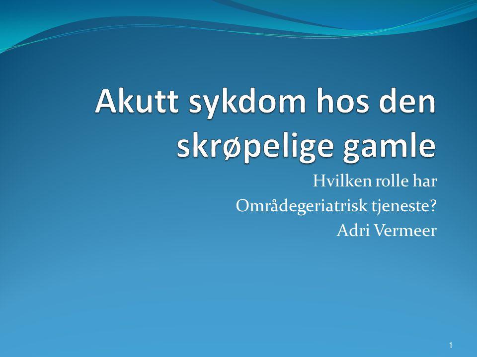 Hvilken rolle har Områdegeriatrisk tjeneste? Adri Vermeer 1