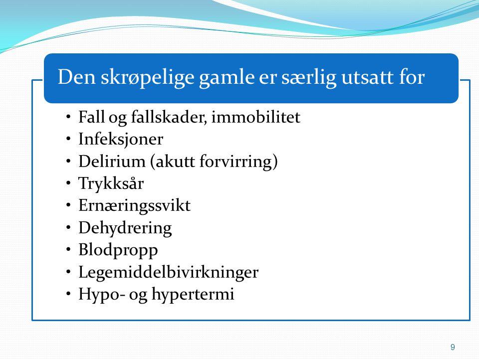 9 •Fall og fallskader, immobilitet •Infeksjoner •Delirium (akutt forvirring) •Trykksår •Ernæringssvikt •Dehydrering •Blodpropp •Legemiddelbivirkninger