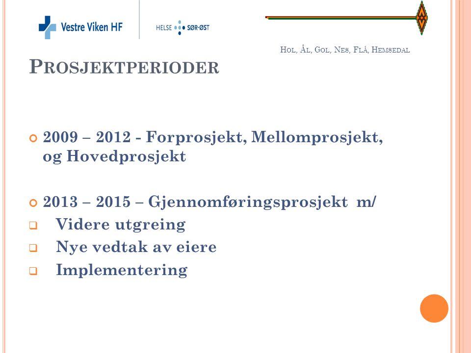 H OL, Å L, G OL, N ES, F LÅ, H EMSEDAL P ROSJEKTPERIODER 2009 – 2012 - Forprosjekt, Mellomprosjekt, og Hovedprosjekt 2013 – 2015 – Gjennomføringsprosj