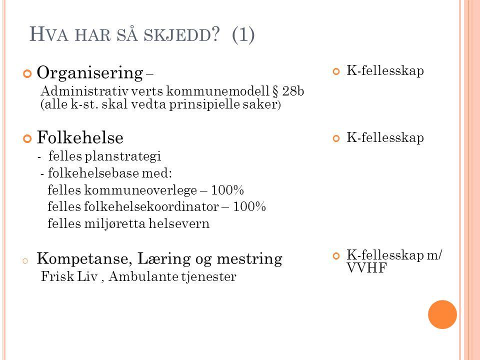 H VA HAR SÅ SKJEDD ? (1) Organisering – Administrativ verts kommunemodell § 28b (alle k-st. skal vedta prinsipielle saker ) Folkehelse - felles planst