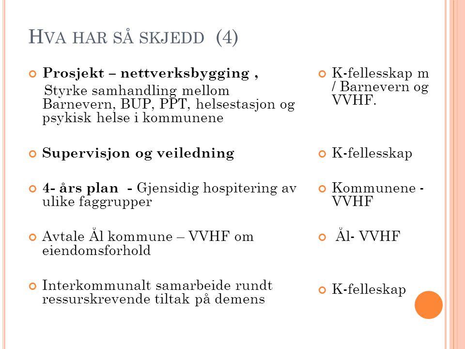 H VA HAR SÅ SKJEDD (4) Prosjekt – nettverksbygging, Styrke samhandling mellom Barnevern, BUP, PPT, helsestasjon og psykisk helse i kommunene Supervisj