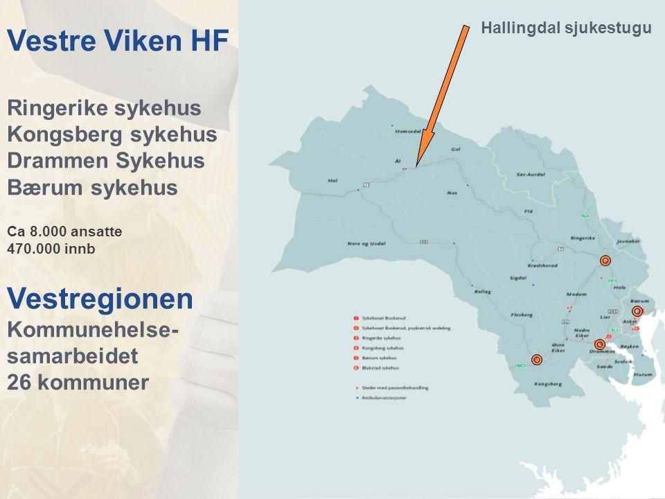 Vestre Viken HF Ringerike sykehus Kongsberg sykehus Drammen Sykehus Bærum sykehus Ca 8.000 ansatte 470.000 innb Vestregionen Kommunehelse- samarbeidet