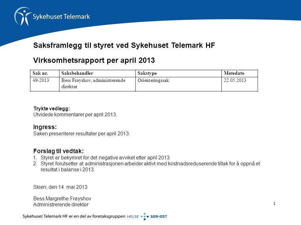 1 Trykte vedlegg: Utvidede kommentarer per april 2013.