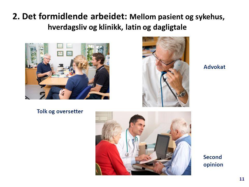 2. Det formidlende arbeidet: Mellom pasient og sykehus, hverdagsliv og klinikk, latin og dagligtale Tolk og oversetter Advokat Second opinion 11
