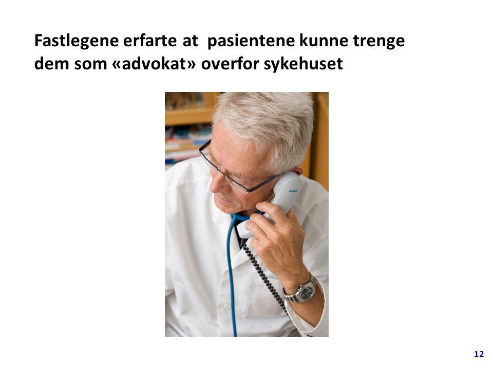 12 Fastlegene erfarte at pasientene kunne trenge dem som «advokat» overfor sykehuset