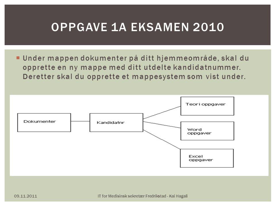 09.11.2011IT for Medisinsk sekretær Fredrikstad - Kai Hagali OPPGAVE 1A EKSAMEN 2010  Under mappen dokumenter på ditt hjemmeområde, skal du opprette