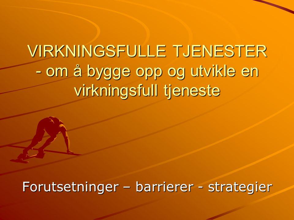 Forutsetninger – barrierer - strategier VIRKNINGSFULLE TJENESTER - om å bygge opp og utvikle en virkningsfull tjeneste