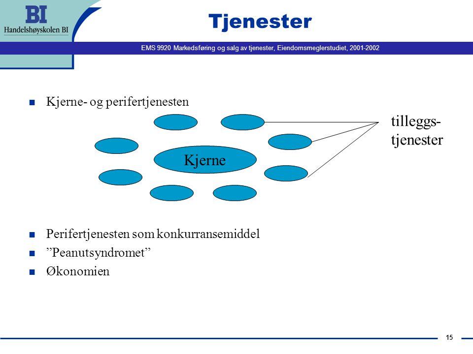 EMS 9920 Markedsføring og salg av tjenester, Eiendomsmeglerstudiet, 2001-2002 15 Tjenester n Kjerne- og perifertjenesten n Perifertjenesten som konkur