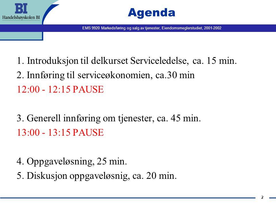 EMS 9920 Markedsføring og salg av tjenester, Eiendomsmeglerstudiet, 2001-2002 2 Agenda 1.Introduksjon til delkurset Serviceledelse, ca. 15 min. 2. Inn