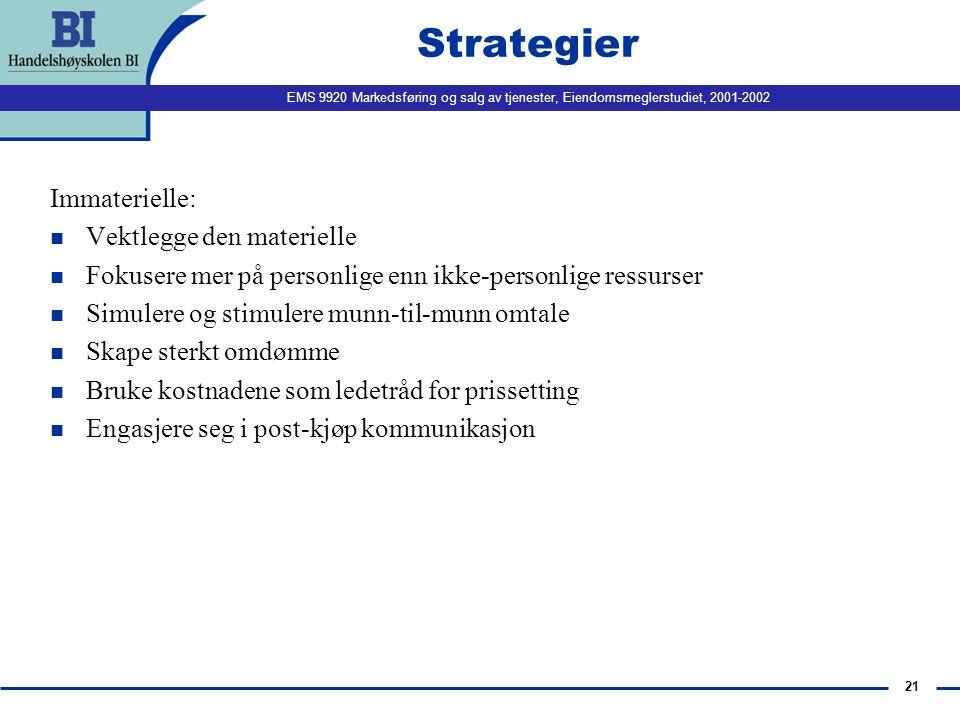 EMS 9920 Markedsføring og salg av tjenester, Eiendomsmeglerstudiet, 2001-2002 21 Strategier Immaterielle: n Vektlegge den materielle n Fokusere mer på