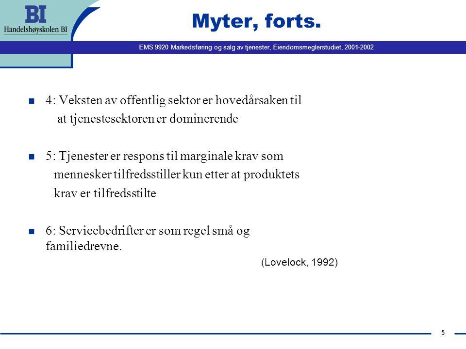 EMS 9920 Markedsføring og salg av tjenester, Eiendomsmeglerstudiet, 2001-2002 5 Myter, forts.