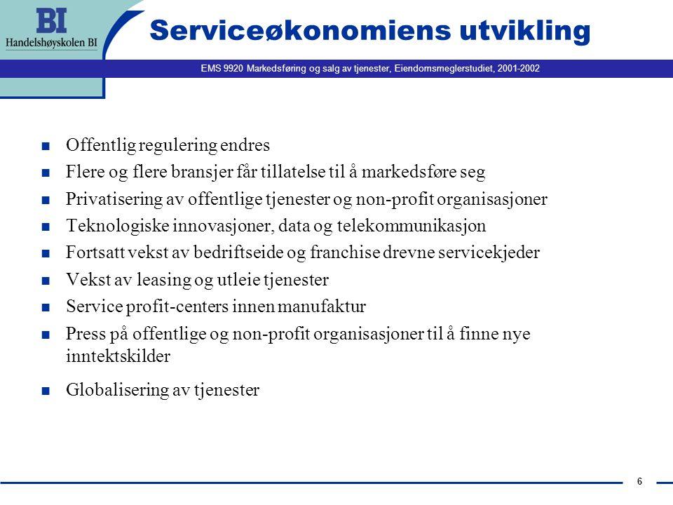 EMS 9920 Markedsføring og salg av tjenester, Eiendomsmeglerstudiet, 2001-2002 6 Serviceøkonomiens utvikling n Offentlig regulering endres n Flere og f