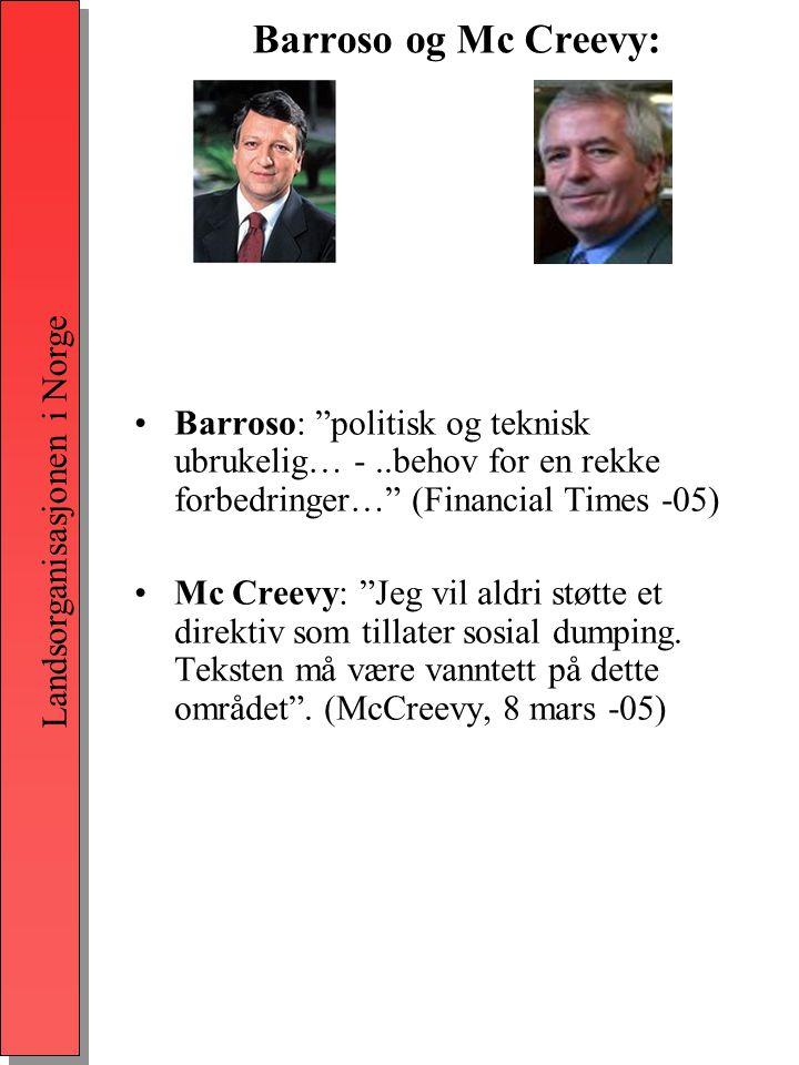 Landsorganisasjonen i Norge Barroso og Mc Creevy: •Barroso: politisk og teknisk ubrukelig… -..behov for en rekke forbedringer… (Financial Times -05) •Mc Creevy: Jeg vil aldri støtte et direktiv som tillater sosial dumping.