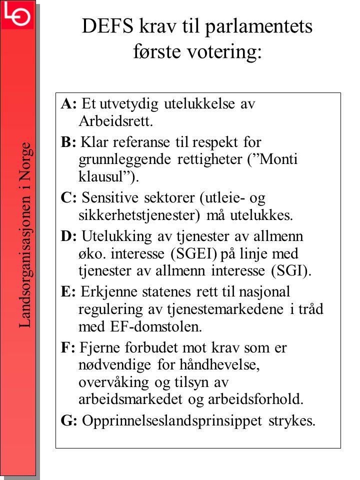 Landsorganisasjonen i Norge DEFS krav til parlamentets første votering: A: Et utvetydig utelukkelse av Arbeidsrett.