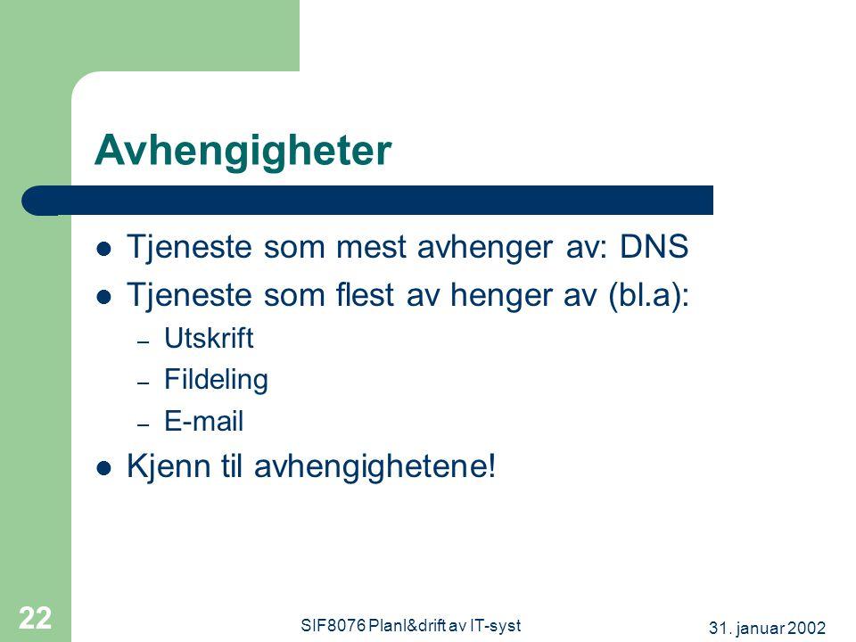 31. januar 2002 SIF8076 Planl&drift av IT-syst 22 Avhengigheter  Tjeneste som mest avhenger av: DNS  Tjeneste som flest av henger av (bl.a): – Utskr