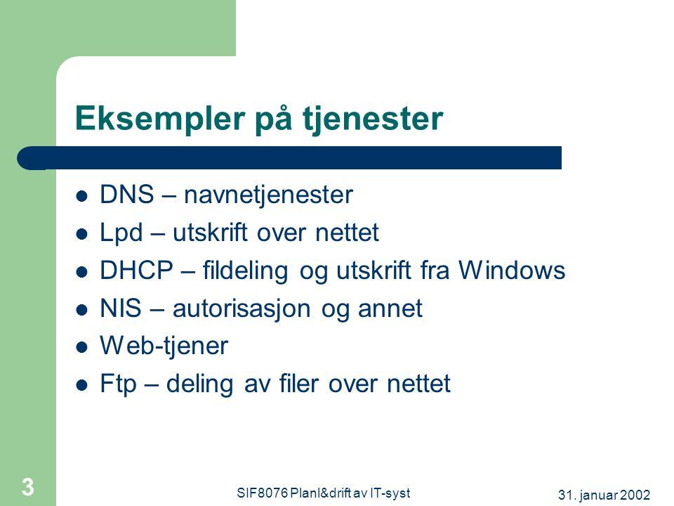 31. januar 2002 SIF8076 Planl&drift av IT-syst 3 Eksempler på tjenester  DNS – navnetjenester  Lpd – utskrift over nettet  DHCP – fildeling og utsk
