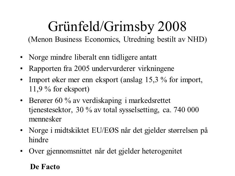 De Facto Grünfeld/Grimsby 2008 (Menon Business Economics, Utredning bestilt av NHD) •Norge mindre liberalt enn tidligere antatt •Rapporten fra 2005 un