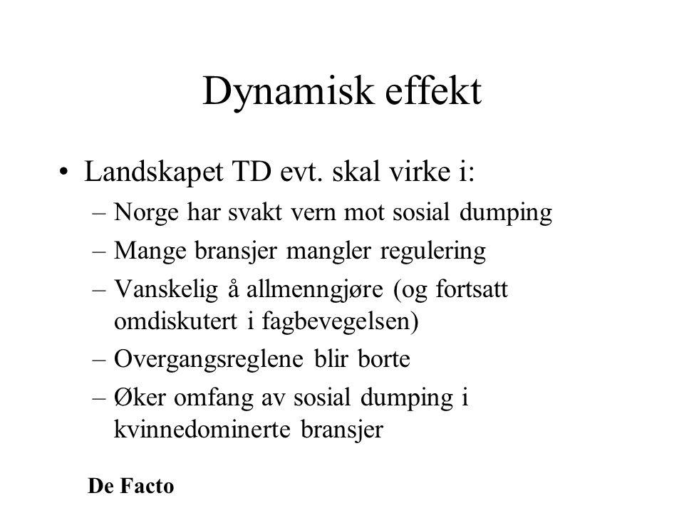 De Facto Dynamisk effekt •Landskapet TD evt. skal virke i: –Norge har svakt vern mot sosial dumping –Mange bransjer mangler regulering –Vanskelig å al