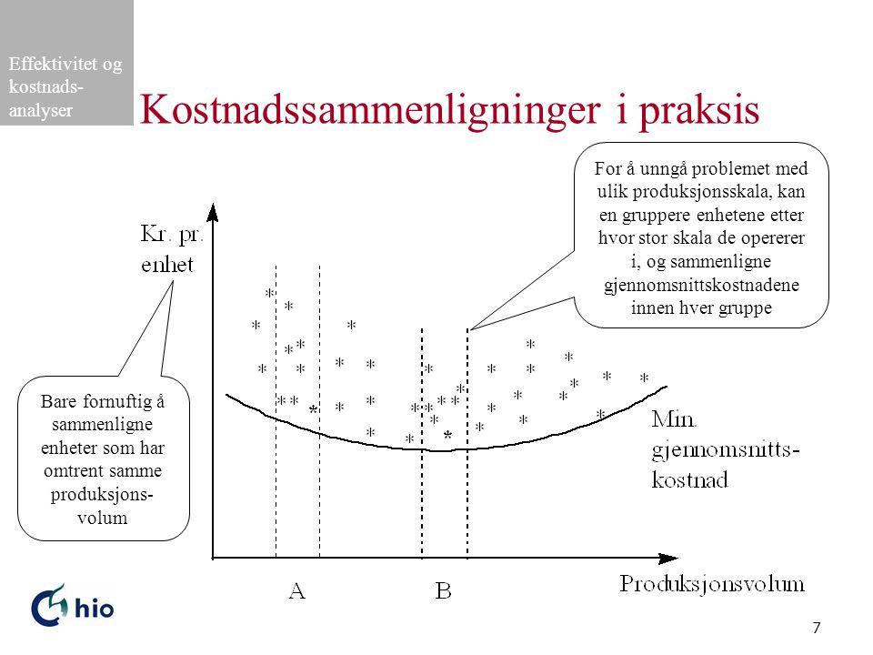 Effektivitet og kostnads- analyser 7 Kostnadssammenligninger i praksis For å unngå problemet med ulik produksjonsskala, kan en gruppere enhetene etter hvor stor skala de opererer i, og sammenligne gjennomsnittskostnadene innen hver gruppe Bare fornuftig å sammenligne enheter som har omtrent samme produksjons- volum