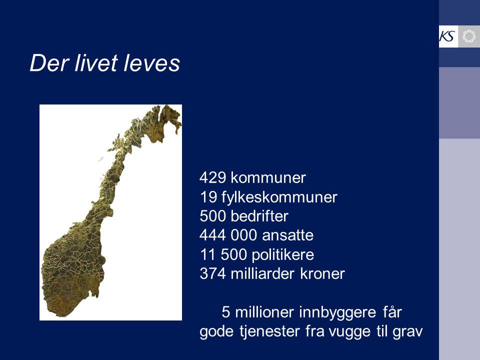 Der livet leves 429 kommuner 19 fylkeskommuner 500 bedrifter 444 000 ansatte 11 500 politikere 374 milliarder kroner 5 millioner innbyggere får gode tjenester fra vugge til grav