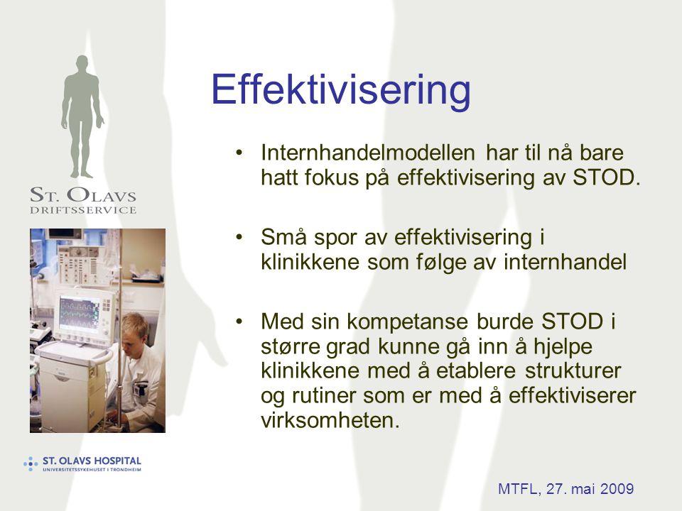 Effektivisering •Internhandelmodellen har til nå bare hatt fokus på effektivisering av STOD. •Små spor av effektivisering i klinikkene som følge av in