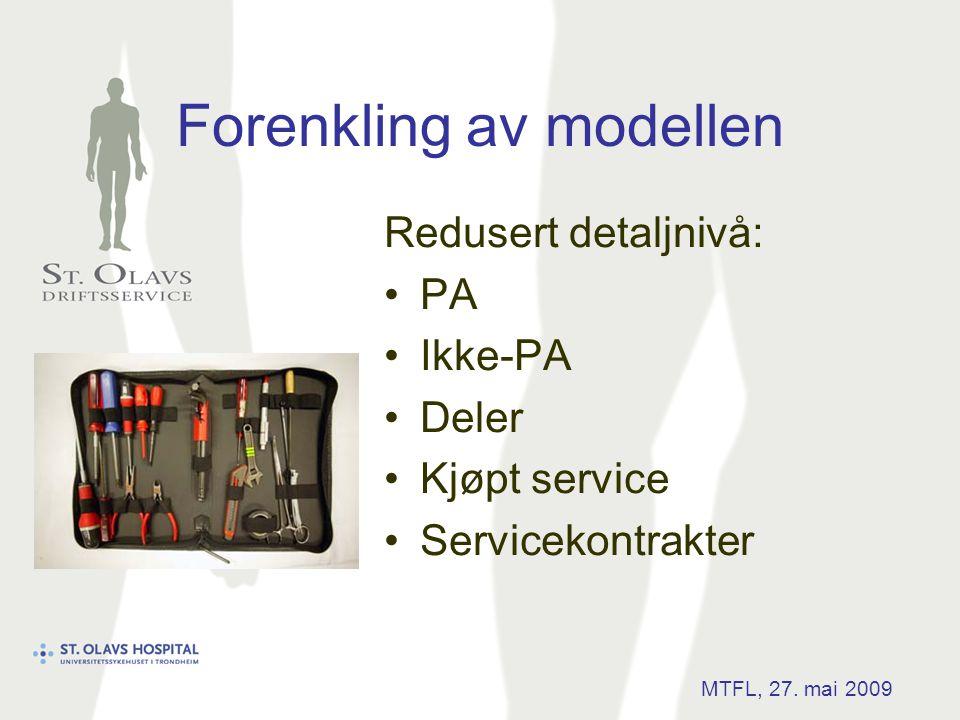 Forenkling av modellen Redusert detaljnivå: •PA •Ikke-PA •Deler •Kjøpt service •Servicekontrakter MTFL, 27. mai 2009