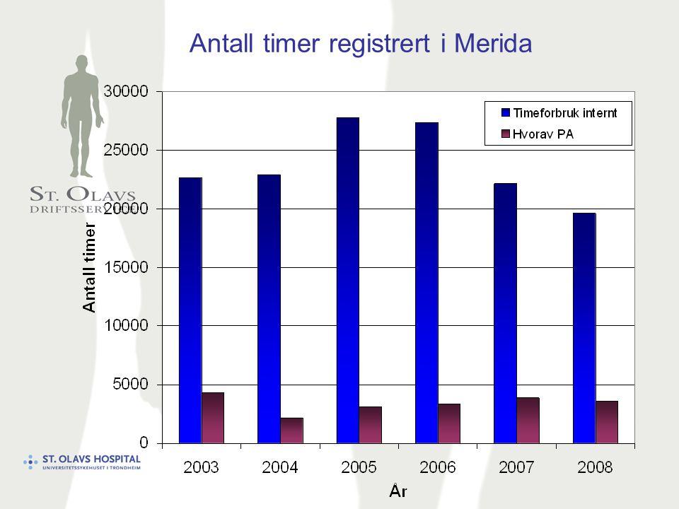 Antall timer registrert i Merida