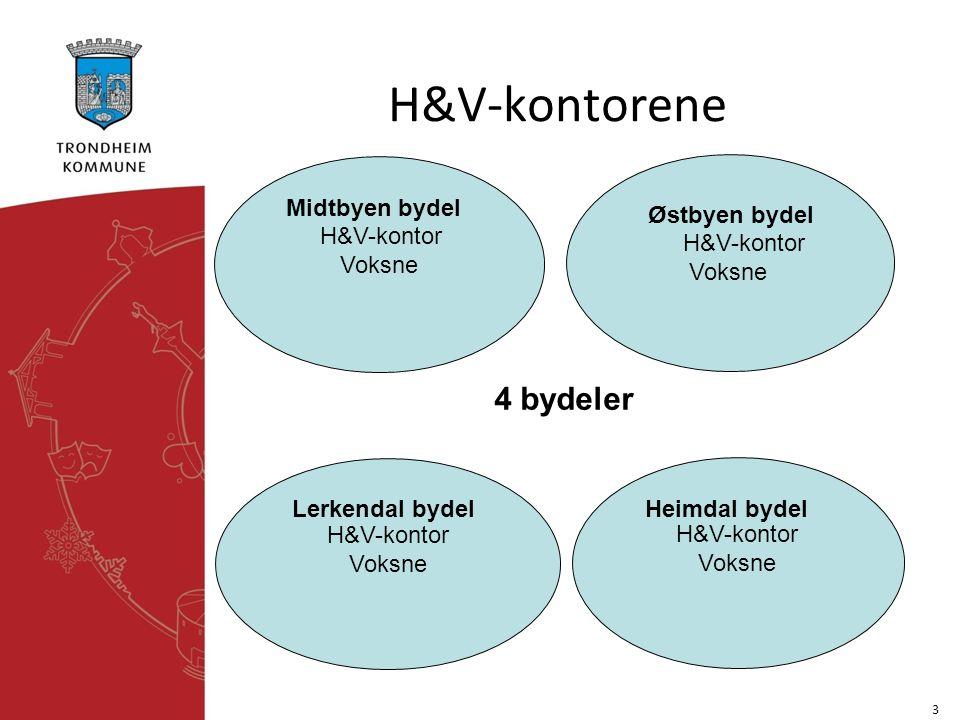H&V-kontorene 3 H&V-kontor Voksne H&V-kontor Voksne H&V-kontor Voksne H&V-kontor Voksne 4 bydeler Midtbyen bydel Østbyen bydel Lerkendal bydel Heimdal