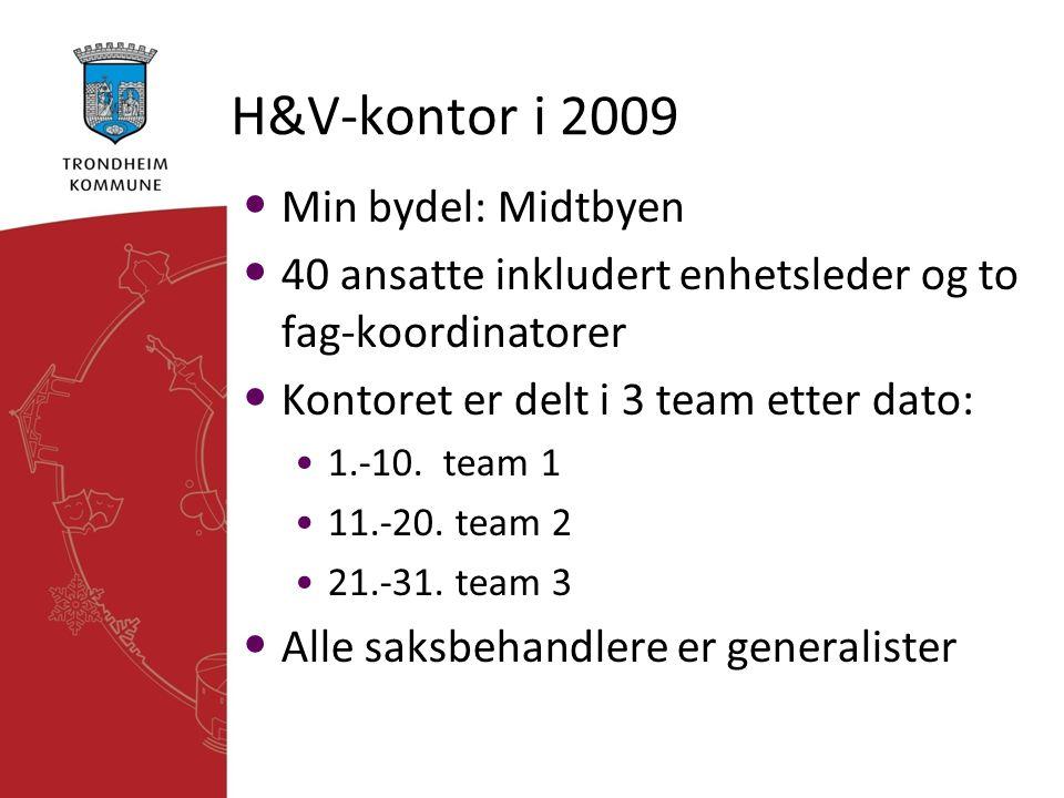 H&V-kontor i 2009 • Min bydel: Midtbyen • 40 ansatte inkludert enhetsleder og to fag-koordinatorer • Kontoret er delt i 3 team etter dato: •1.-10. tea