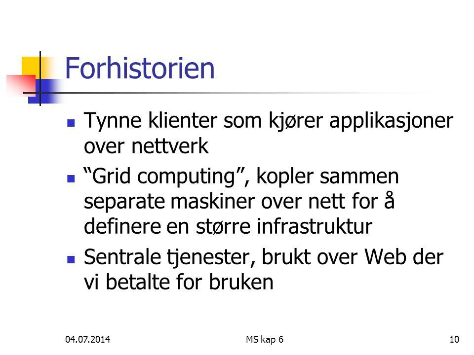 04.07.2014MS kap 610 Forhistorien  Tynne klienter som kjører applikasjoner over nettverk  Grid computing , kopler sammen separate maskiner over nett for å definere en større infrastruktur  Sentrale tjenester, brukt over Web der vi betalte for bruken
