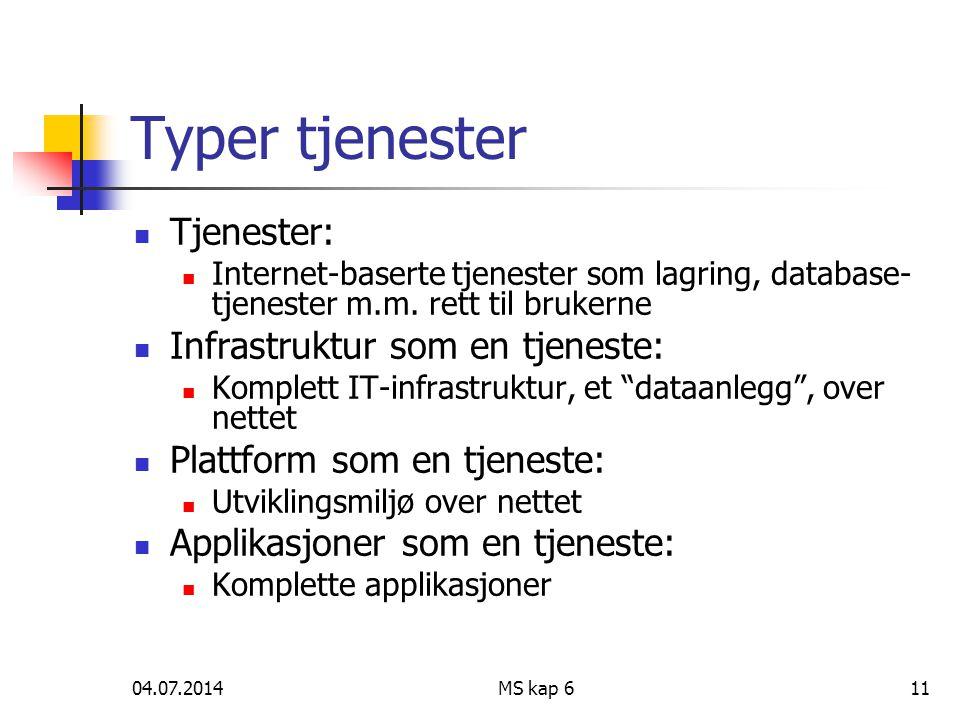 04.07.2014MS kap 611 Typer tjenester  Tjenester:  Internet-baserte tjenester som lagring, database- tjenester m.m. rett til brukerne  Infrastruktur