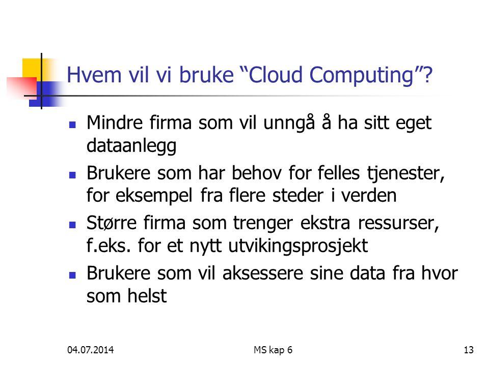 """04.07.2014MS kap 613 Hvem vil vi bruke """"Cloud Computing""""?  Mindre firma som vil unngå å ha sitt eget dataanlegg  Brukere som har behov for felles tj"""