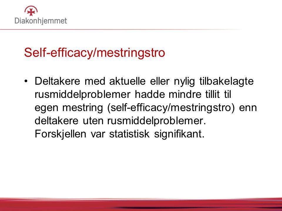Self-efficacy/mestringstro •Deltakere med aktuelle eller nylig tilbakelagte rusmiddelproblemer hadde mindre tillit til egen mestring (self-efficacy/me