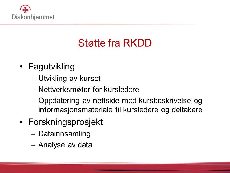 Støtte fra RKDD •Fagutvikling –Utvikling av kurset –Nettverksmøter for kursledere –Oppdatering av nettside med kursbeskrivelse og informasjonsmaterial