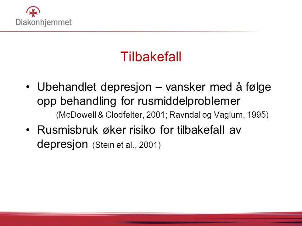 Tilbakefall •Ubehandlet depresjon – vansker med å følge opp behandling for rusmiddelproblemer (McDowell & Clodfelter, 2001; Ravndal og Vaglum, 1995) •Rusmisbruk øker risiko for tilbakefall av depresjon (Stein et al., 2001)