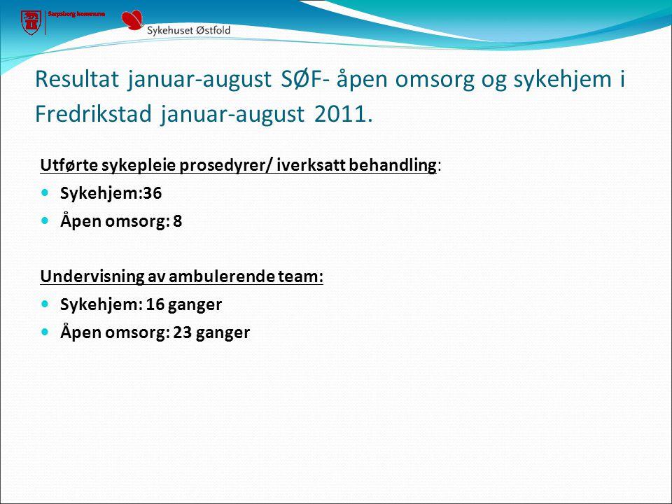 Resultat januar-august SØF- åpen omsorg og sykehjem i Fredrikstad januar-august 2011. Utførte sykepleie prosedyrer/ iverksatt behandling:  Sykehjem:3