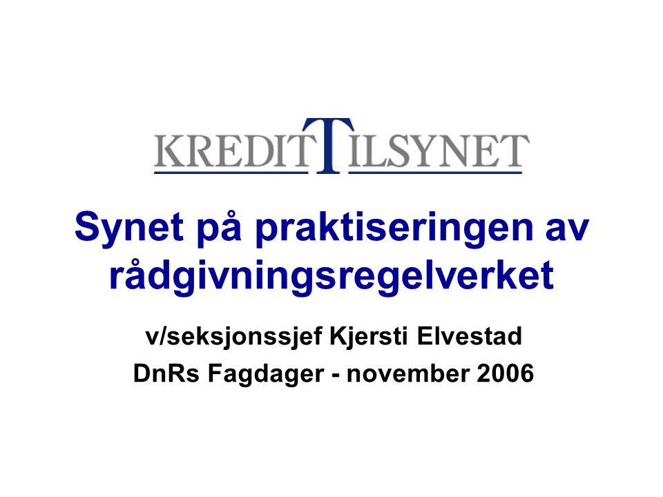 Synet på praktiseringen av rådgivningsregelverket v/seksjonssjef Kjersti Elvestad DnRs Fagdager - november 2006