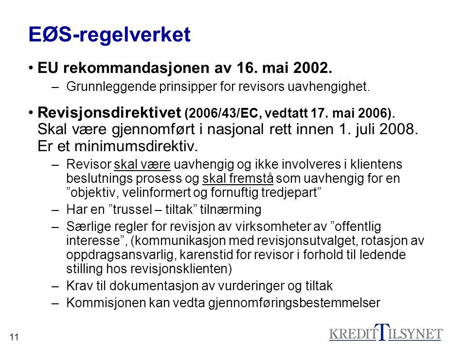 11 EØS-regelverket •EU rekommandasjonen av 16. mai 2002. –Grunnleggende prinsipper for revisors uavhengighet. •Revisjonsdirektivet (2006/43/EC, vedtat