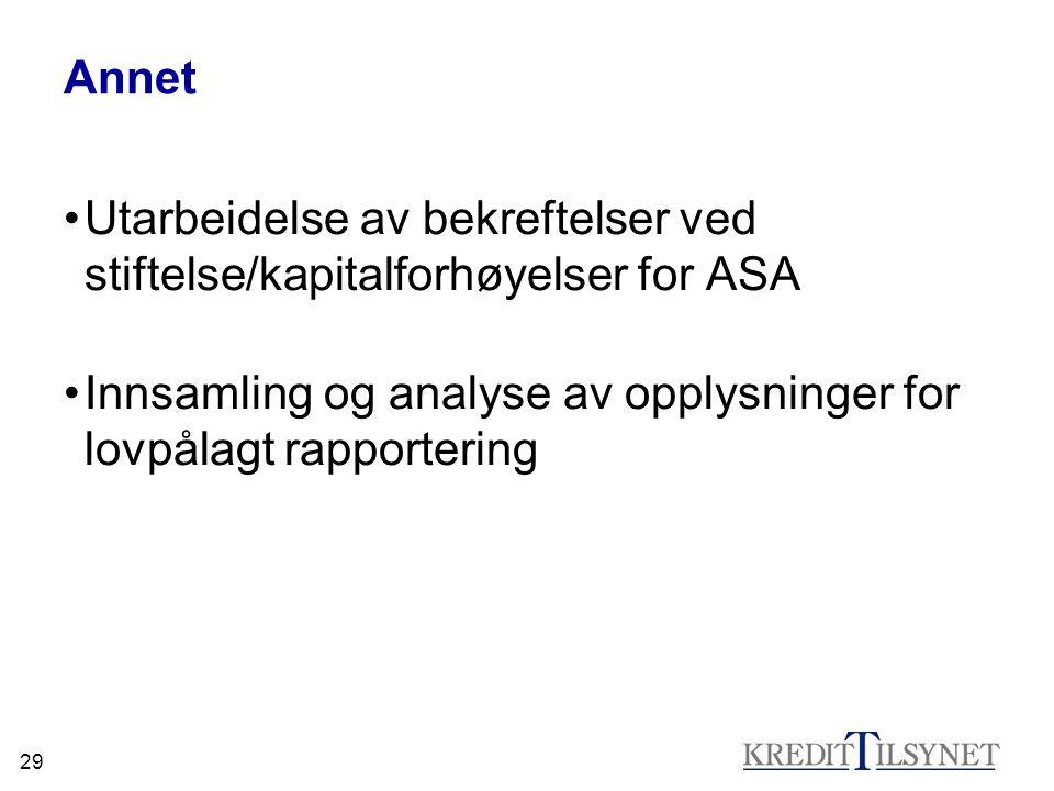 29 Annet •Utarbeidelse av bekreftelser ved stiftelse/kapitalforhøyelser for ASA •Innsamling og analyse av opplysninger for lovpålagt rapportering